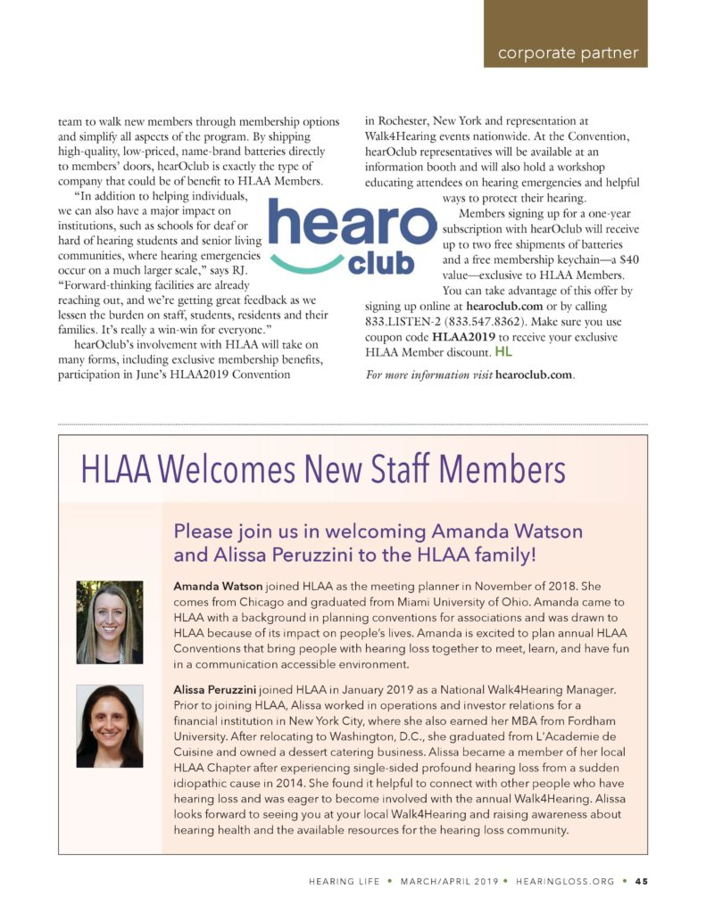 Hearing Life Magazine announces partnership between the hearing loss association of America and hearing aid battery subscription service hearOclub.
