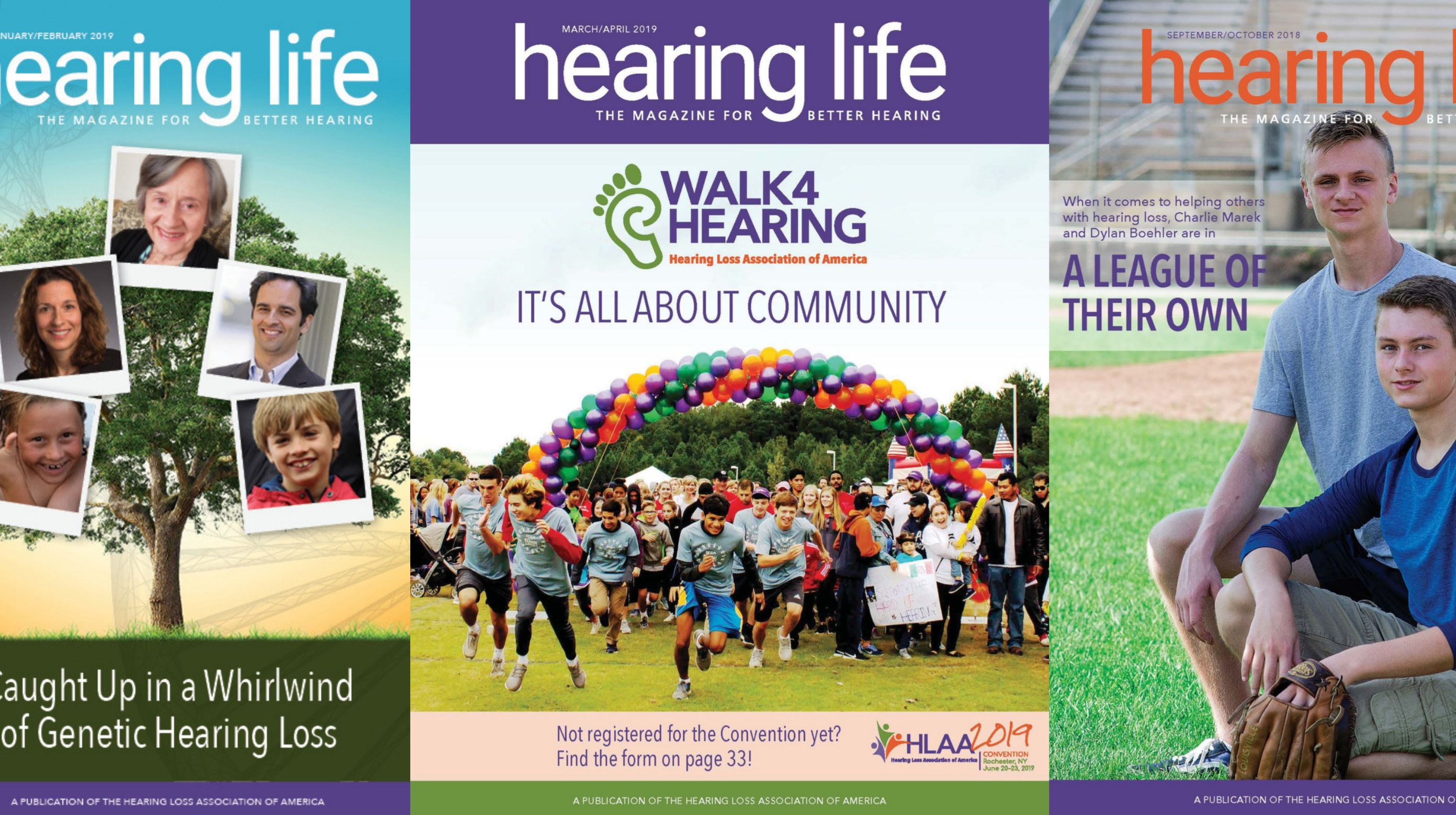 covers of Hearing Life Magazine, the magazine for better hearing