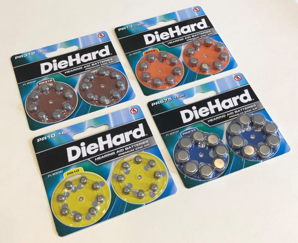 DieHard hearing aid battery size 312, size 13, size 10, size 675.