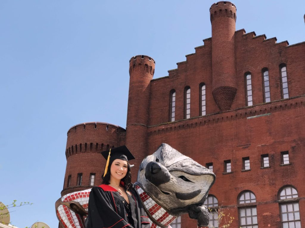 hearOclub member and Phonak hearing aid user at University of Wisconsin Madison graduation