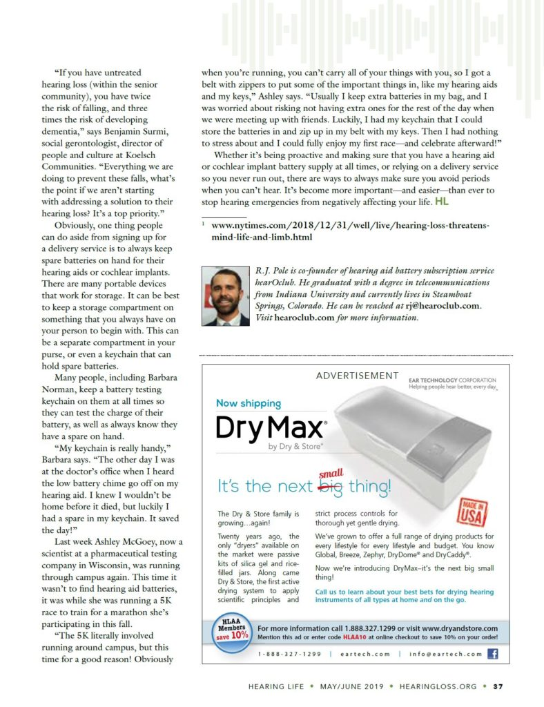 Article from Hearing Life magazine on 'hearing emergencies'. This is when hearing aid batteries run out in your hearing aid and you don't have a plan to replace them. The article focuses on hearing health and how to help the hearing impaired.