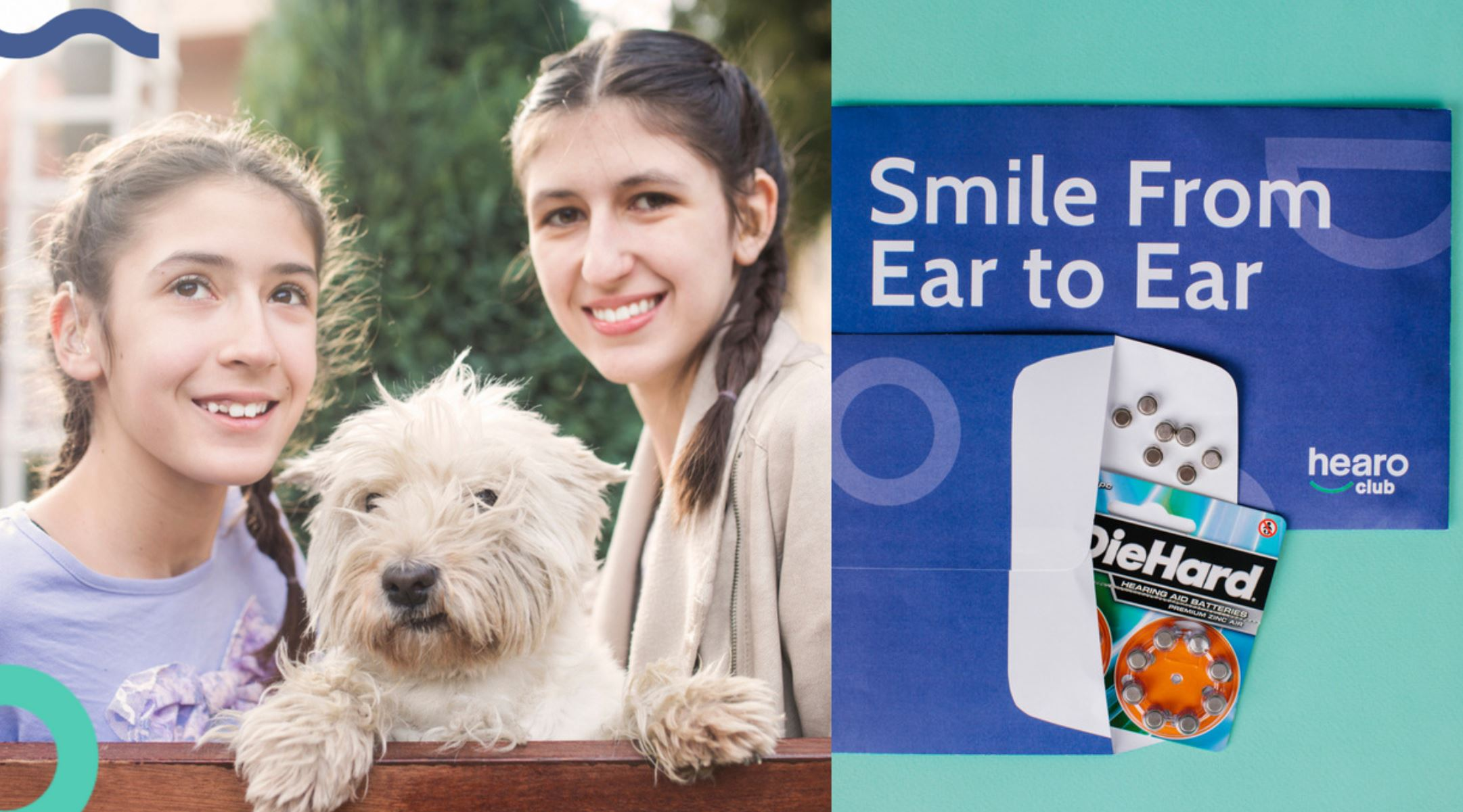 Girls with hearing aids and dog next to pack of hearing aid batteries