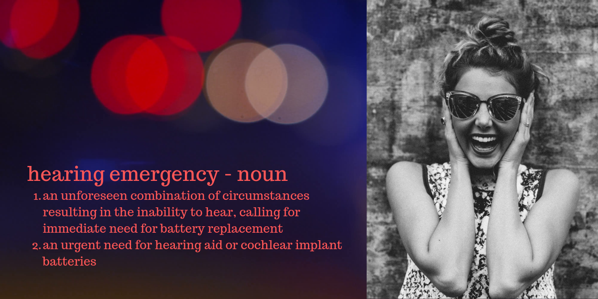 girl running out of hearing aid batteries resulting in a hearing emergency
