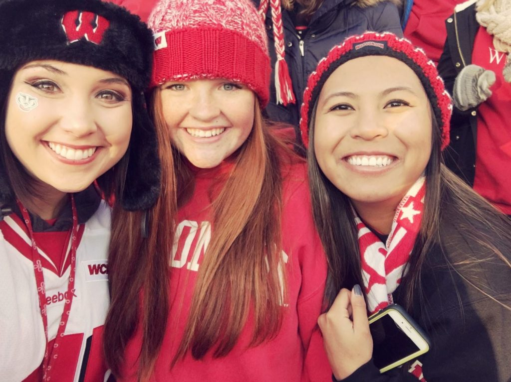 girls at University of Wisconsin Football game