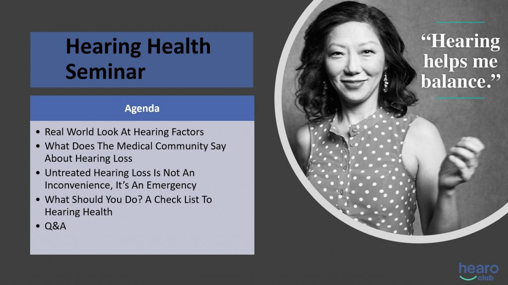 agenda for hearing health seminar, importance of wearing hearing aids and having hearing aid batteries