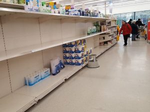 empty shelf at store where people are stocking up for coronavirus